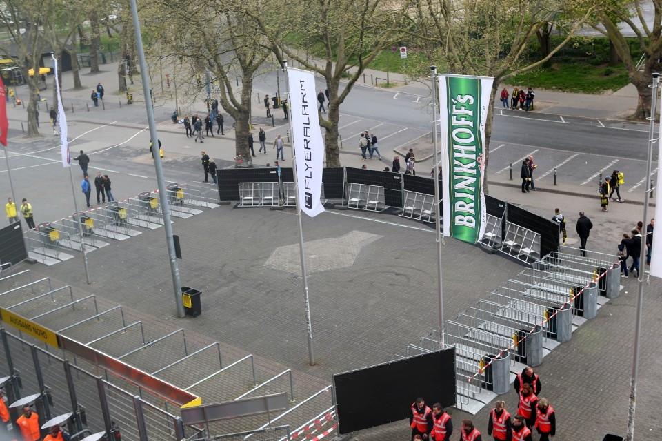 Start gegen Frankfurt mit Sichtschutz