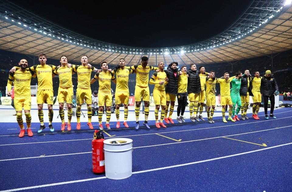 201819, 1. Bundesliga, Fussball, Fußball, GER, 1.BL, 1. BL, Herren, Saison, Sport, football, Berlin, Berliner, Sportclub, Jubel, Freude, Emotion, jubeln, feiern, hüpfen, ausgelassen - Hertha BSC - BVB