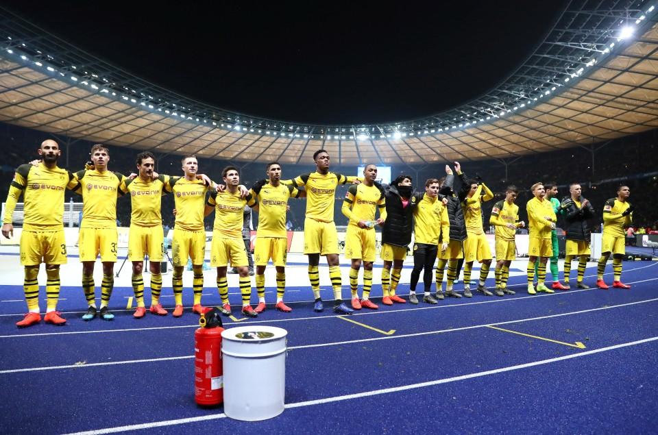 201819, 1. Bundesliga, Fussball, Fußball, GER, 1.BL, 1. BL, Herren, Saison, Sport, football, Berlin, Berliner, Sportclub, Jubel, Freude, Emotion, jubeln, feiern - Hertha BSC - BVB
