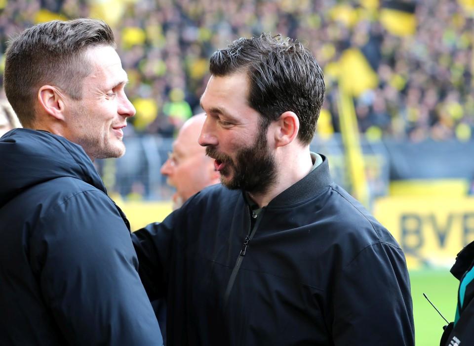 201819, 1. Bundesliga, Fussball, Fußball, GER, 1.BL, 1. BL, Herren, Saison, Sport, football, Halbfigur, halbe, Figur, Halbkörper, besprechen, austauschen, unterhalten, begrüßen - BVB - 1. FSV Mainz 05