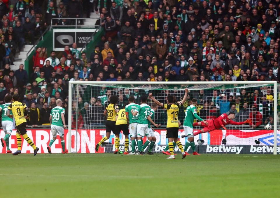 201819, 1. Bundesliga, Fussball, Fußball, GER, 1.BL, 1. BL, Herren, Saison, Sport, football, Torabschluss - SV Werder Bremen - BVB