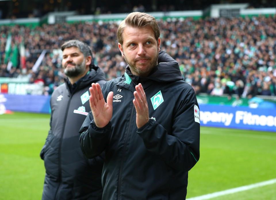201819, 1. Bundesliga, Fussball, Fußball, GER, 1.BL, 1. BL, Herren, Saison, Sport, football, Halbfigur, halbe, Figur, Halbkörper, Gestik, Handbewegung - SV Werder Bremen - BVB