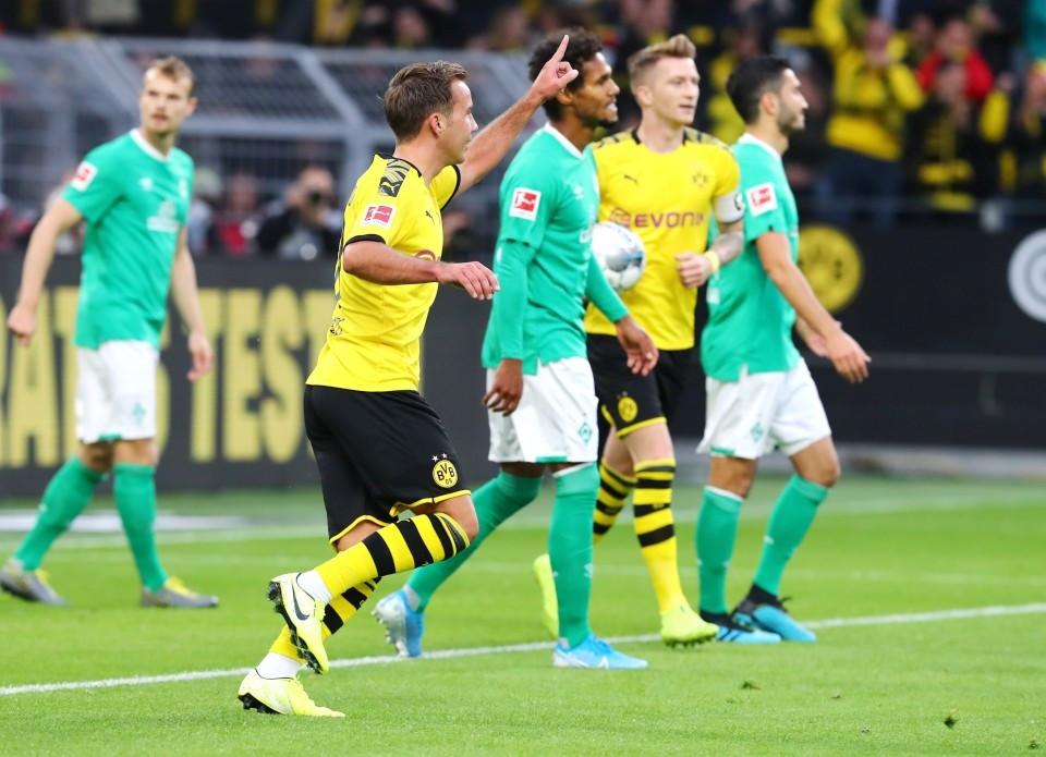 201920, 1. Bundesliga, Fussball, Fußball, GER, 1.BL, 1. BL, Herren, Saison, Sport, football, Jubel, Freude, Emotion, jubeln, feiern - BVB - Werder Bremen